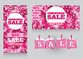 Set of banners and decorative elements for christmas sales — Vetor de Stock