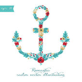 Flower formed anchor — Stock vektor