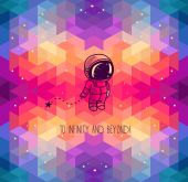 Cute hand drawn astronaut on abstract geometric background — Stock Vector