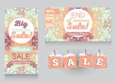 Set of promo cards for season winter sales — Stock Vector