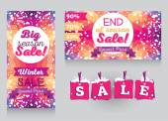 Set of promo cards for season winter sales — Vector de stock