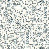 Seamless pattern for science in hand drawn doodle style — Stock Vector