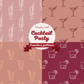 Collection of seamless backgrounds with cocktails — Wektor stockowy