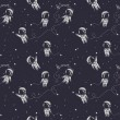 Постер, плакат: Cosmic seamless pattern cute doodle astronauts floating in space