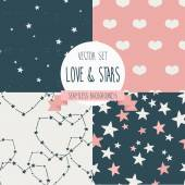 Set of seamless textures for valentine's day, lovely and starry backgrounds — Stock Vector