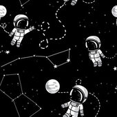 Cosmic seamless pattern, cute doodle astronauts floating in space — Stock Vector