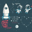 Cute hand drawn elements for valentine's day design: moon, stars, astronauts floating in space and rocket — Stock Vector #62975175