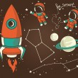Постер, плакат: Cute hand drawn elements for cosmic design: planets constellations astronauts floating in space and rocket