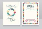 Convite de casamento floral lindo — Vetor de Stock