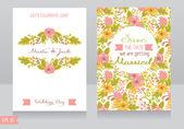 Vackra blommor bröllopsinbjudan — Stockvektor