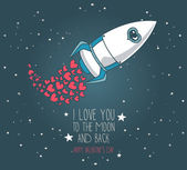 Cute hand drawn rocket with hearts, stars background, lovely card for valentine's day — 图库矢量图片