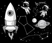 Cute hand drawn elements for cosmic design: planets, constellations, astronauts floating in space and rocket — Stock Vector