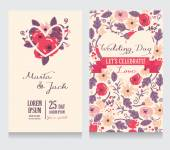 Beautiful floral wedding invitation — Stock Vector