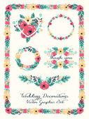 Elementy dekoracji ślubnych, kwiatowy zestaw graficzny — Wektor stockowy
