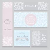 Collection of beautiful floral wedding cards — Wektor stockowy