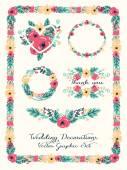 Elementos de decoração de casamento, conjunto gráfico floral — Vetor de Stock