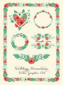 Wedding decoration elements, floral graphic set — Stock Vector