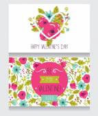 Two greetings cards for valentine's day, cute hand drawn floral design — Stock Vector