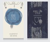 Boho stil için iki kart — Stok Vektör