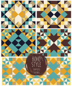 Set of abstract seamless patterns,  boho palette — Stock Vector