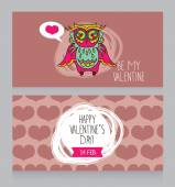 Greeting cards for for Valentine's Day with cute lovely owl — Stock Vector