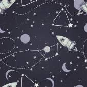 Seamless background with cute doodle constellations, planets, rockets and stars — Stock Vector