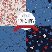 Set of starry and lovely seamless backgrounds — Stock Vector