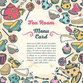 茶室、漫画スタイルのお茶の道具とカードのかわいいメニュー カバー — ストックベクタ