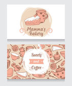 Cute funny business card for bakery — Stock Vector