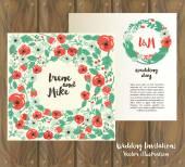 木製の背景の 2 つの花の結婚式カード — ストックベクタ