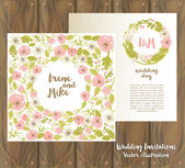 Two floral wedding cards on wooden background — Vetor de Stock