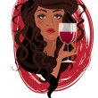 Beautiful woman with glass of wine — Stock Vector #66787985