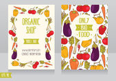 Promo cards template for organic foods shop — Stock Vector