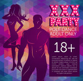 Banner for xxx party with man's and woman's silhouette — Stock Vector