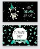 Funny greeting cards for birthday party in cosmic style — Stock Vector