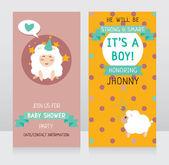 Baby boy arrival cards — Stock Vector
