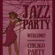Woman in retro style singing jazz music, Chicago party poster — Stock Vector #70811287