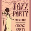 Woman in retro style singing jazz music, Chicago party poster — Stock Vector #70811289