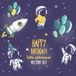 Постер, плакат: Set of cute astronauts and rocket in space for birthday party in cosmic style