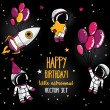 Set of cute astronauts and rocket in space for birthday party in cosmic style — Stock Vector #71077215