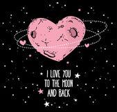 Heart formed moon on starry sky — Stock Vector