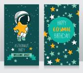 Card with cute astronaut and stars in space for birthday party in cosmic style — Stock Vector