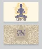 卡佩斯利装饰与人权在莲花体式瑜伽和瑜伽务虚会 — 图库矢量图片