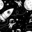 ������, ������: Seamless background with cute doodle astronauts planets rockets and stars