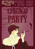 Smoking woman in retro style on Chicago party poster — Stock Vector