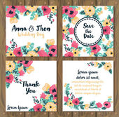 Floral wedding cards on wooden background — Vector de stock