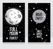 Invitation template to full moon party — 图库矢量图片
