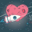 Cosmic card for valentine's day with rocket on heart formed planet orbit — Stock Vector #72220583