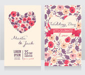 Wedding cards with heart formed flowers — Stock Vector