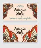 Antika dükkanı için kartvizit şablonu — Stok Vektör